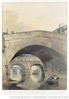 Vue de l'ancien Pont de l'hotel-Dieu prise de l'ancien pont de la Cité au bord de la Seine à Paris  Richard Parkes Bonington, c.1820