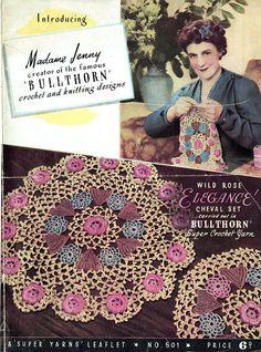 Antique BULLTHORN Irish-Crochet Lacy Doily Set Crochet Pattern with Rosbuds and Bullthorns Victorian style Heirloom Pretty Keepsake Irish Crochet Patterns, Doily Patterns, Crochet Motif, Crochet Doilies, Crochet Yarn, Vintage Patterns, Vintage Knitting, Vintage Crochet, Baby Knitting