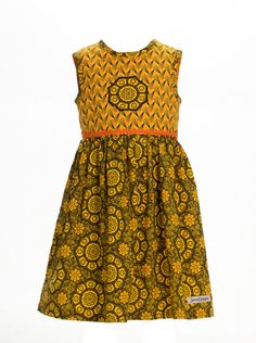 Girls Yellow African Print Qhakaza by JenniDezignsClothing on Etsy African Outfits, African Print Dresses, African Fashion, Kids Fashion, Women's Fashion, Baby Girl Dresses, Flower Girl Dresses, Angel Dress, Kids Outfits