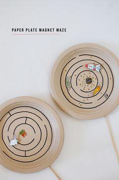 Magnetlabyrinth aus Pappteller
