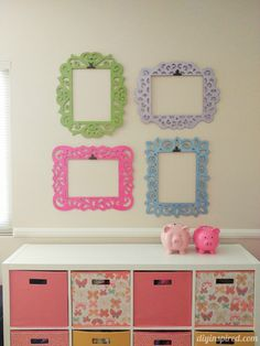 Frames for Molly's Room - Kids Artwork Display with Clips to Change Artwork - Painted with Pearl Finish for added Shine Diy Artwork, Artwork Display, Artwork Wall, Wall Collage, Art For Kids, Crafts For Kids, Art Wall Kids, Displaying Kids Artwork, Hanging Kids Artwork