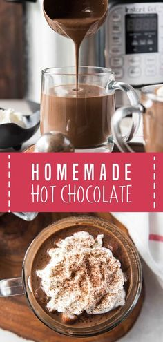 Homemade hot chocolate is a perfect holiday drink! Make crock pot hot chocolate, instant pot hot chocolate or keto hot chocolate with this recipe. Crock Pot Hot Chocolate Recipe, Best Hot Chocolate Recipes, Hot Cocoa Recipe, Cocoa Recipes, Homemade Hot Chocolate, Hot Chocolate Bars, Dessert Recipes, Hot Fudge, Fudge Brownies