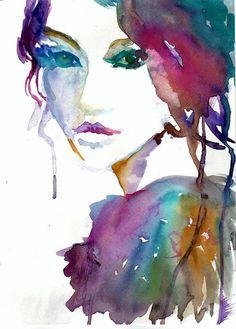 Tessa by Jessica Buhman, Print of Original Watercolor Painting, 8 x 10 Deer Purple Blue Green Brown Doe