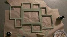 Create a collage frame from multiple frames & make your own design. Used gorilla glue to attach together. Then sand and paint whatever color you would like. I just used the flat paint sample from Home Depot for $2+. Easy and personalized :) just add a saw hook or two to hang on wall :) by divyaa