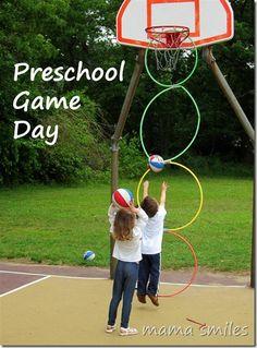 Outdoor active kid activities - preschool game day