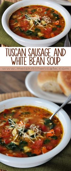 For a quick weeknight dinner this Tuscan Sausage and White Bean Soup can't be beat.