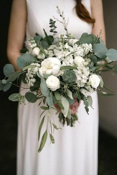 Top 6 Sage Green Wedding Color Palettes---Sage & White simple and elegant wedding bouquet for spring / fall garden weddings, classy country wedding ideas. elegant wedding Sage Green Weddings-Top 6 Color Palettes for a Memorable Winter Day Cascading Wedding Bouquets, Bride Bouquets, Bridal Flowers, Flower Bouquet Wedding, Floral Wedding, Wedding White, Elegant Wedding, Bridesmaid Bouquets, Bridesmaids