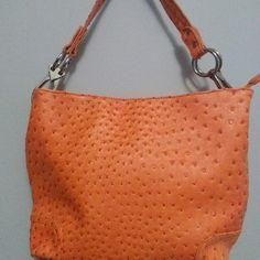 Orange handbag Ostrich patteen Bags Shoulder Bags