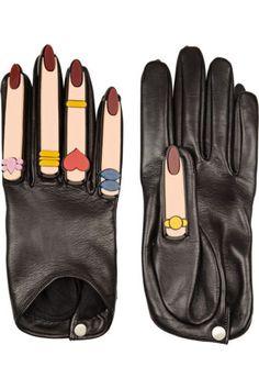 **YAZBUKEY** Fingers and Nails Embellished Leather Gloves | eBay