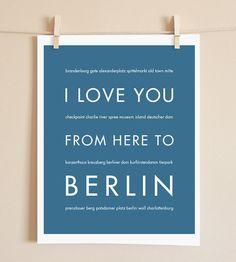 Berlin Germany Travel Art Print I Love You by HopSkipJumpPaper