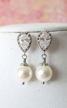 Cubic Zirconia Earrings, Crystal teardrop, Swarovski pearl drop, Wedding Bridal, Bridesmaid earrings, Clear White weddings