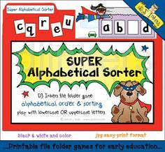 Super Alphabetical Sorter, file folder game, alphabetical order, sorting game, uppercase letters, lowercase letters, superhero game