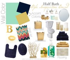 Yellow, Navy, Mint, Gold, Silver and a hint of Coral. I really think I like this color scheme for my little bathroom.