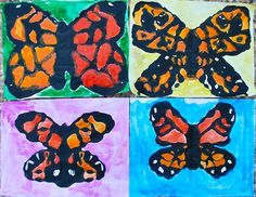 Kids Monarch Butterfly Art Project - first learn about the migration of the monarchs, then do this craft with black paint mixed in glue, fold it, let dry, and watercolor. Butterfly Crafts, Butterfly Art, Monarch Butterfly, Butterfly Migration, Madame Butterfly, Butterfly Painting, Spring Art Projects, Spring Crafts, Projects For Kids