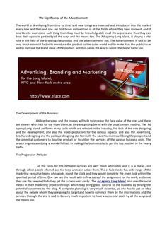 the-significance-of-the-advertisement by eface1 via Slideshare