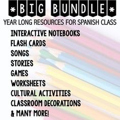 This bundle has everything you need to have a fun and successful school year. These activities can be used with an existent curriculum or to create your own! It includes resources for Interactive Notebooks, songs, cultural activities, classroom decoration Middle School Spanish, Elementary Spanish, Spanish Teaching Resources, Teaching Ideas, First Day Of School Activities, Spanish Teacher, Spanish Class, Interactive Notebooks, Curriculum