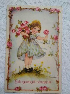 Vintage postcard, little girl with roses, Hannes Petersen graphics, 1942 #BestWishesnameday Rabbit Baby, Birds Eye View, Vintage Postcards, Vintage Art, Children, Kids, Little Girls, Roses, Graphics
