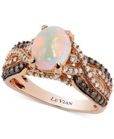 Le Vian Chocolatier® Opal (1-1/5 ct. t.w.) and Diamond (3/4 ct. t.w.) Ring in 14k Rose Gold | macys.com