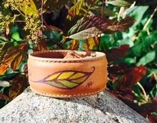 Handpainted Feather Cuff