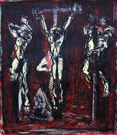 DAVID FAIRBAIRN   'Study 2 from Piazzetta, Christ Crucified between the Two Robbers'   2012  acrylic, gouache, pen & ink  33.5 x 29 cm