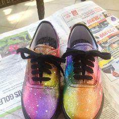 Rainbow Galaxy Shoes by plurgypsiesbecky on Etsy, $40.00