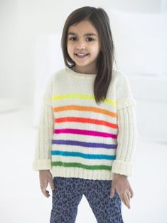 Bright Stripes Pullover pattern by Sara Harper Knitting For Kids, Crochet For Kids, Free Knitting, Knitting Projects, Baby Knitting, Knit Crochet, Knitted Baby, Knitting Ideas, Sweater Knitting Patterns