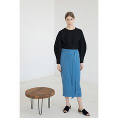 A classic, pencil skirt made of a thin, soft fabric in a matte finish.