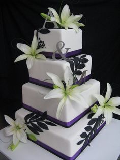 Purple, White and Tiger Lily wedding cake