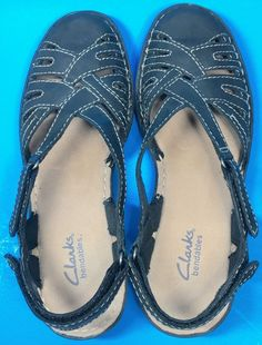 5d3fb4071 Clarks Bendables Black Leather Slingback Sandals Closed Toe Womens Size 8N