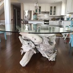Driftwood dining table art. Hand crafted from Gulf Island driftwood...
