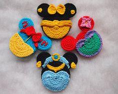 Disney Minnie Mouse crochet pattern, Snow White, Jasmine, Ariel and Belle Disney princess, Princess Minnie Head.