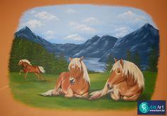 Muurschildering met Halflingers paarden in een kinderkamer