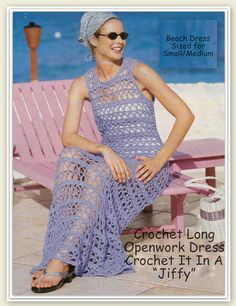 Crochet Dress Pattern Long Dress Beach Dress Bathing by MsBobbies