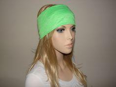 Yoga Headband Lime Green Turban Headband jersey by OtiliaBoutique, $14.50