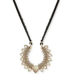 Lucky Brand Gold-Tone White Stone Black Leather Pendant Necklace ($39) ❤ liked on Polyvore featuring jewelry, necklaces, gold, stone jewelry, pendant necklace, stone necklace, white jewelry and white necklace