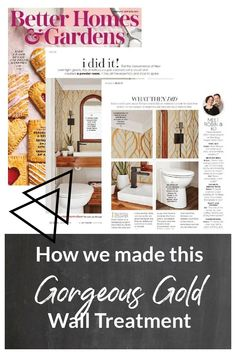 Featured in BHG magazine! Paint and stencils can be an affordable alternative to expensive wallpaper. This large scale leaf pattern stencil is simple and modern, yet still classic. I used Behr's Wabi-Sabi green paint and soft metallic gold paint to get this elegant effect.