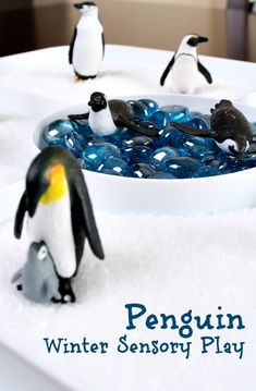 Penguin Salt Tray...winter sensory fun for kids