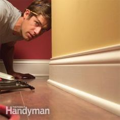 How to Install Baseboard Molding, Even on Crooked Walls you can get perfectly tight joints and smooth, clean, professional results when installing trim, even on bad walls. this article demonstrates se Baseboard Molding, Base Moulding, Wall Molding, Moldings And Trim, Wainscoting, Crown Moldings, Floor Molding, Baseboard Ideas, Baseboard Styles