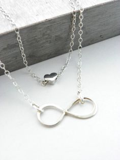 Double Infinity Necklace, Heart Necklace, Two Layers, Double Layered Necklace, Silver Necklace, Sterling Silver, Wife Gift, Love, Boxed Gift...