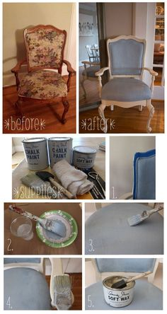 Chair for The living room to compliment the gray couches -|- diy-painted-fabric-chair-annie-sloan-chalk-paint