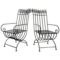 Pair of Highback, French, 1940s Style Forged Iron Garden Chairs, France | From a unique collection of antique and modern patio and garden furniture at https://www.1stdibs.com/furniture/building-garden/garden-furniture/