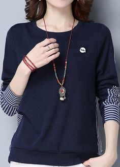 Long Sleeve Striped Navy Pullover Sweatshirt on sale only US$33.26 now, buy cheap Long Sleeve Striped Navy Pullover Sweatshirt at liligal.com
