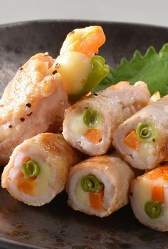 Japanese-style Pork and Vegetables Roll with Melty Cheese|豚肉の三色巻き