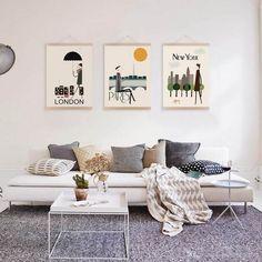 idées de décoration murale vintage New-York-Londres-Paris