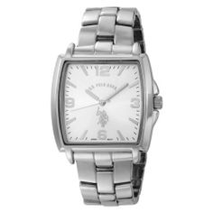 U.S. Polo Assn. Men's USC80040 Tonneau Silver Dial Metal Link Watch U.S. Polo Assn.. $21.99. Tonneau silver-tone case. With fold-over-clasp closure. Silver arabic numbers 12,3,6,9 and slashes with other indicators on black dial. Silver logo. 3-Hand Analog-Quartz movement. Mineral crystal