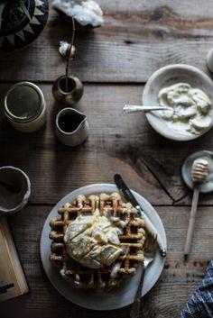 earl grey waffles + whipped honey cream
