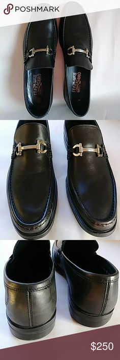 Men's Salvatore Ferragamo Florence An elegant elongated shape and clean lines in highly polished calfskin on a leather sole Salvatore Ferragamo Florence Shoes. Made in Italy. Size 10.5. Gently worn. Excellent condition. Salvatore Ferragamo Shoes