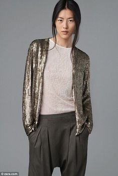 The sequinned cardigan, glams up this long sleeve top and harem pants by Zara