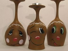 Gingerbread Men Wine Glass Candle Holders by ButterflyKisCreation, $17.99