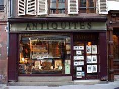 Old Antiques Shop, Strasbourg, France. I love antique shops! Restaurants, Window Graphics, Shop Fronts, France, Shop Window Displays, Shop Interior Design, Antique Stores, Vintage Design, Old Antiques